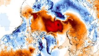 Temperature patterns mapped onto the Arctic region satellite image (c) University of Maine/ClimateReanalyzer.org