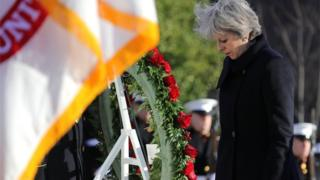 Theresa May lays a wreath at the tomb of the Unknown Soldier