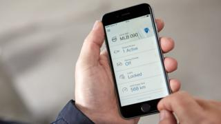 App showing Volvo carless key