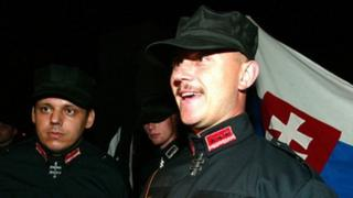 Slovak far-right leader Marian Kotleba in outfit inspired by Nazi costume