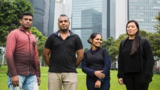From left to right: Sri Lankan refugees Ajith Puspa, 45, and Supun Thilina Kellapatha, 32, his partner Nadeeka, 32, and Filipino refugee Vanessa Rodel, 40, in Hong Kong, 23 February 2017