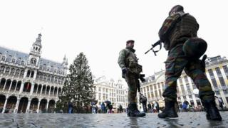 Soldiers patrolling Brussels's main square on Sunday