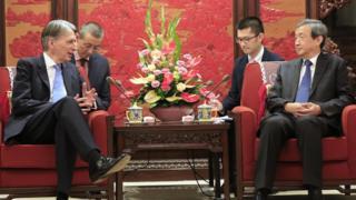 Philip Hammond with Chinese Vice Premier Mai Kai on July 22 2016