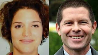 Jean-Baptiste Salvaing (R) and Jessica Schneider - the French police couple killed on 13 Jun 16