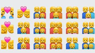 WhatsApp emojis showing same-sex couples and families