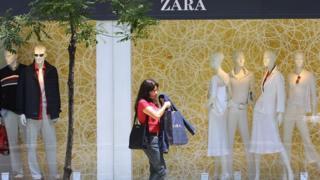 Woman shopping at Zara