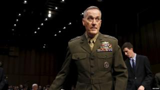Marine Corps Gen. Joseph Dunford arrives at the Senate Armed Services committee nomination hearing to be chairman of the Joint Chiefs of Staff on Capitol Hill in Washington