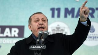 Turkish President Recep Tayyip Erdogan at a rally in Istanbul. Photo: 11 March 2017