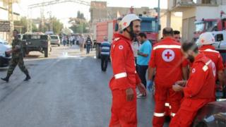 Red Cross officials at Qaa, Lebanon (27/06/16)