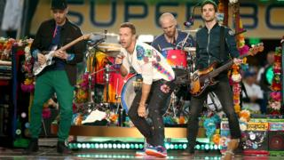 Coldplay perform at the Super Bowl