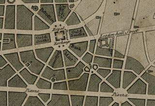 Wren's plan for London after the Great Fire of 1666 (detail)