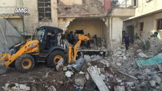 Photo posted online by pro-opposition Aleppo Media Centre purportedly showing damage to M10 hospital (3 October 2016)