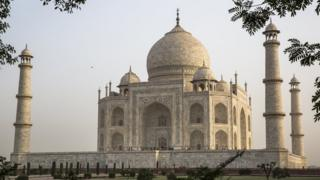 A frontal view of the Taj Mahal in Agra