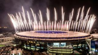 Fireworks explode above the Maracana stadium during the rehearsal of the opening ceremony of the Olympic Games on August 03, 2016 in Rio de Janeiro