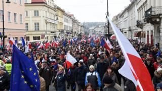 Protesters in Warsaw demonstrating against the government's