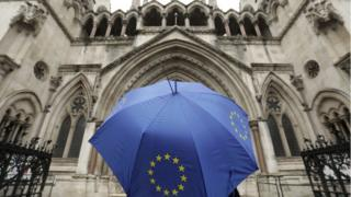 Umbrella carrying the EU flag outside the High Court in London