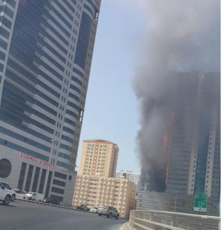 UAE building on fire