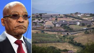 A composite image showing South African President Jacob Zuma and his Nkandla residence
