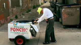 Mr Sanchez outfits his cart with clanging bells, drawing more attention to his business