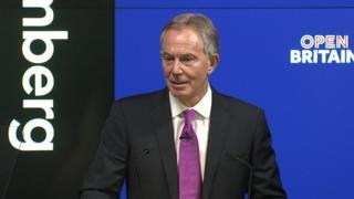 Tony Blair speaking in central London