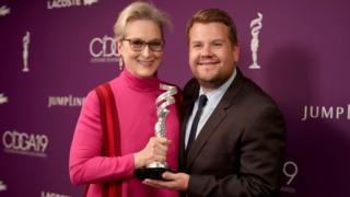 Meryl Streep with James Corden