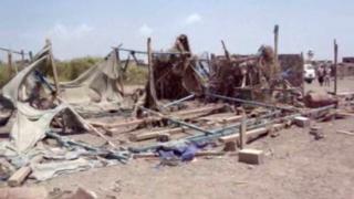 Aftermath of suspected air strike on wedding celebration in village of Wahijah, Taiz province, Yemen (28 September 2015)