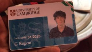 University ID card belonging to murdered Italian student Giulio Regeni