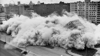 Photo from 21 April, 1972 shows one of the Pruitt-Igoe buildings being brought down by dynamite in St Louis, Missouri, U.S.