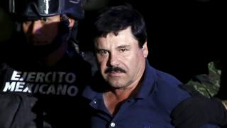 """Joaquin """"El Chapo"""" Guzman is paraded before the media after his arrest"""