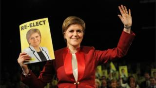Nicola Sturgeon at manifesto launch