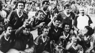 Nottingham Forest celebrate winning the European Cup with a 1-0 win over Hamburg in Madrid, 1980