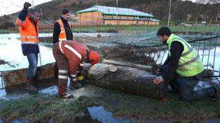 Clean-up operations in Peebles, Scotland