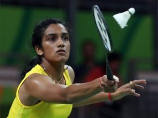 "ndhu Pusarla V. of India in action against Nozomi Okuhara of Japan during their Rio 2016 Olympic Games Women""s Single Semifinal match at the Riocentro in Rio de Janeiro, Brazil, 18 August 2016"