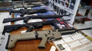 Guns for sale are displayed in Roseburg Gun Shop in Roseburg, Oregon, United States, 3 October 2015.