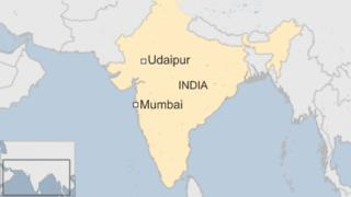 A map showing Udaipur and Mumbai in India
