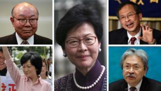 五名香港特首潛在人選:胡國興(左上)、葉劉淑儀(左下)、林鄭月娥(中)、曾鈺成(右上)、曾俊華(右下)