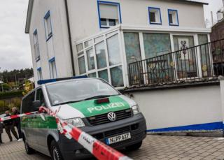 A police car in front of a house of a member of the so-called Reichsbuerger movement in Georgensgmuend, southern Germany, on 19 October 2016