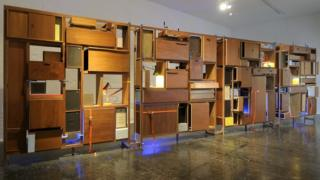 Ikea Billy bookcases as part of exhibition