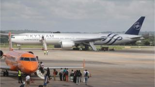 The Boeing 777 Air France flight 463 parked at Moi International Airport in Kenyan coastal city Mombasa, 20 December 2015.