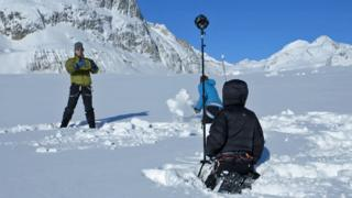 Filming Click 360 on the ski slopes