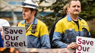 Steelworkers at Port Talbot
