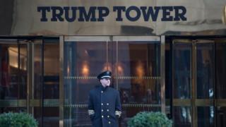 Front door of Trump Tower in New York. 21 Jan 2017
