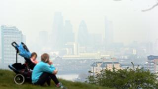 Pollution over London, seen from Greenwich