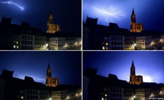 A combination picture made on July 18, 2015 shows lightning flashing through the sky over the Cathedral in Strasbourg, eastern France, during a thunderstorm