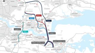Map of the Lower Thames Crossing routes