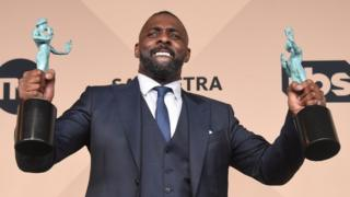 "Actor Idris Elba poses in the press room after winning Outstanding Performance by a Male Actor in a Supporting Role award for ""Beasts of No Nation"" during the 22nd Annual Screen Actors Guild Awards at The Shrine Auditorium on January 30, 2016 in Los Angeles"