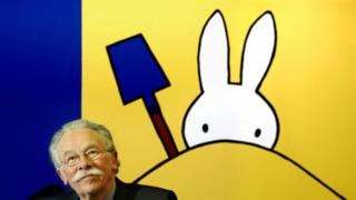 Dick Bruna at the opening of his exposition of Miffy creations in Madurodam, the Hague (23 February 2005)