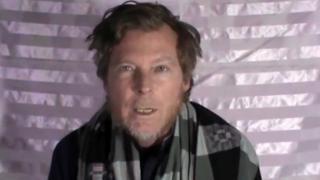 This image made from video released by the Taliban on 11 January 2017 shows an Australian identified as Timothy Weekes making a statement on camera while in captivity.