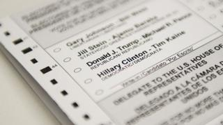 An absentee ballot featuring voting options for the US presidential election