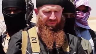 Tarkhan Batirashvili, also known as Omar Shishani, appearing in a video with other militants in Syria (3 July 2014)